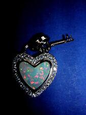 Opal Anhänger Herz + Schlüssel Feueropal in 925 Sterling Silber Liebe 2 cm