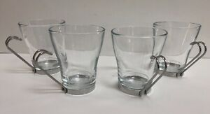 Set of (4) Bormioli Rocco Espresso/Cappucino Glass Mugs with Metal Handles Italy