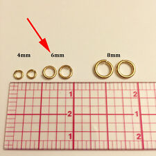 25pc 6mm Heavy Open Jump Rings 14K Gold Filled 6mm Snap Ring 18ga (j-6mmGF-25)