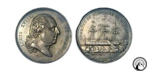 France Louis XVIII Silver Medal Commerce of Bayonne
