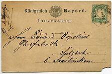 CARTE LETTRE  ENTIER POSTALE BAYERN 1878