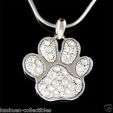 New w Swarovski Crystal Dog KITTY CAT Kitten Pawprint Paw Print Pendant Necklace