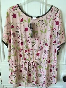 Kim & Co Drawstring Pink Floral Top Size XL BNWT
