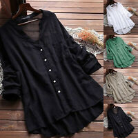 Women Summer V Neck Blouse Loose Long Sleeve Baggy Tops Tunic T Shirts Plus Size