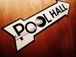 POOL HALL ARROW SIGN Cue & Black Eight 8 Ball Billiards Bar Game Room Decor NEW