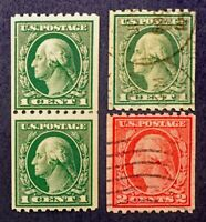 Scott US #441, #442 - 1914 Coil Stamps; Mint Never Hinged & Used; OG; CV=$50.50