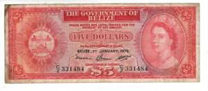 BELIZE $5 Dollars VF Queen Elizabeth II Banknote (1976) P-35b Prefix C/2