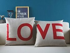 "Love Pillow Case Cushion Canapé Throw Cover Decor Red Beige Set 18"" Zip Word mutuelles HMO"