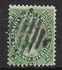 CANADA Scott 18 Queen Victoria-12 1/2 cents yellow green Used VG-F