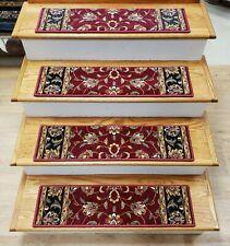 "Set of 13 Burgundy Red Wool Non Slip Carpet Stair Treads 30"" x 8"" - Rug Depot"