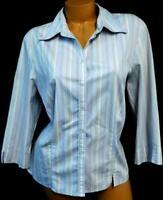 Purple white 3/4 sleeve folded collar neck plus size button down striped top XL