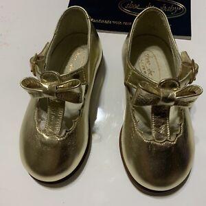 Toddler Girl Shoe Be Baby Doo Italian Leather Gold Size 2 NIB Vintage NIB