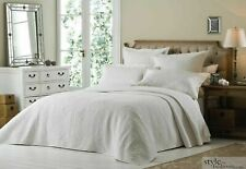 Luxury Double White Quilted Embroidered Bedspread Throw + 2 Pillow Shams