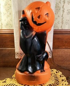 Vintage Halloween Plastic Blow Mold Decoration Witch & Cat with JOL General Foam