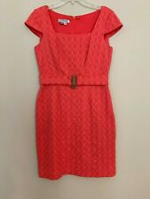 Kay Unger New York Cap Sleeve Textured Coral Pink Dress Size 10