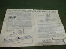 Lionel postwar watchman 45 & 045 Instruction Sheet - Original