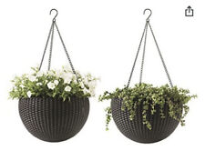 """Keter Round Resin Hanging Planters, 2pk, All-Weather Plastic Planters, 13.8"""" Di"""