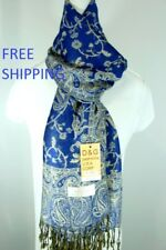 DG Women's Pashmina Scarf Shawl,Paisley Royal Blue Beige.Silk Cashmere.Soft*