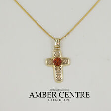 Italian Made Amber 9ct Gold Cross Pendant, Amazing Detailing -GP0087 RRP£225!!!