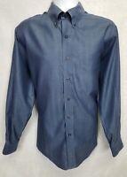 Jos A Bank Traveler's Collection Men's Button Down Shirt Long Sleeve Blue Medium