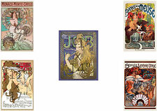Set of Five (5) Alphonse Mucha - Art Nouveau - 11x17 inch Posters Prints