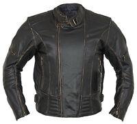 Herren Motorrad Lederjacke Biker Retro Rocker Chopper Motorrad Antik Jacke