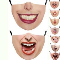 Smiley Face Mask Funny Woman mouth Face Cover Reusable Washable Mask Positive