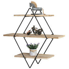 3 Tier Floating Rhombus Wall Shelves, Retro Wood and Metal For Home,Rustic Decor
