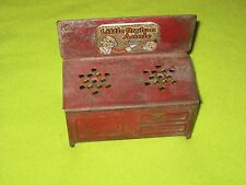 Vintage Antique 1930s Little Orphan Annie Tin Metal Red Stove Toy Doll House