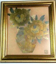 Vintage Tokyo Japan Framed Wood Print Gold Silver Bronze Carnations MCM Wall Art