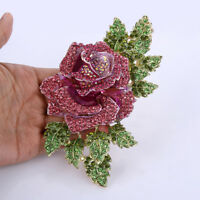 Luxury Rose Flower Pink  Austrian Crystal Large Brooch Pin Gold Tone Women Party