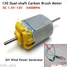 2PCS DC 1.5V-12V 3V 5V 6V Dubble Dual Shaft Carbon Brush Small 130 DC Motor
