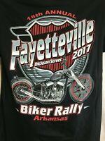 FAYETTEVILLE 2017 Motorcycle Rally Biker Mens Graphic T Shirt Black Sz L