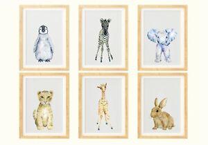 Watercolour Baby Safari Animal Prints, Cute Nursery / Bedroom Art, Kids Unisex