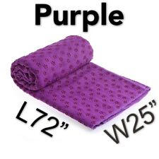 Non-Slip Hot Yoga Mat Cover Towel  Silicone Dot&Carrying Bag Microfiber Purple