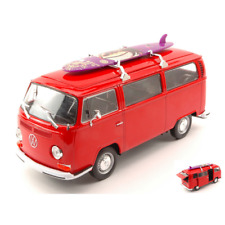VW T2 BUS WITH SURFBOARD 1972 RED 1:24 Welly Auto Stradali Die Cast Modellino