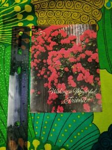 Greeting Card Unused Wonderful World of Happiness Red Flowers Fence
