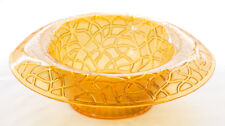 "Depression Glass Bowl Imperial Glass Co. Amber ""Tree of Life"" Rolled Edge 9 1/4"""