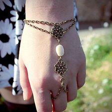 UK Seller gold plated flower imitation pearl Bracelet Ring Slave Chain 1137
