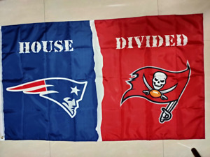 New England Patriots Tampa Bay Buccaneers House Divided Flag 3x5 FT Football NFL