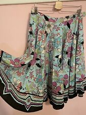 Womens WILLI SMITH size 12 Embroidered Circle Skirt Floral Linen