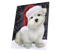 Let it Snow Christmas Holiday Maltese Dog Tempered Cutting Board Large DB190