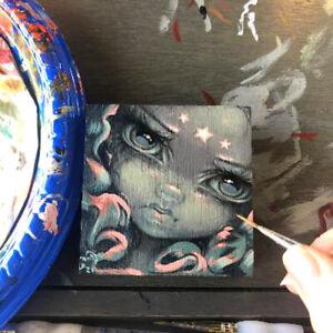 Tiny Treasure 188 Jasmine Becket-Griffith ORIGINAL PAINTING big eyes fairy art