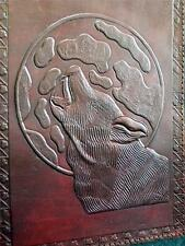 WOLF Handmade A5 Leather Journal Diary - Pagan Wicca - Pages of Unlined Paper