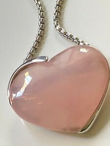 Large smooth rose quartz heart necklace & '925' chain necklace 51.69g statement