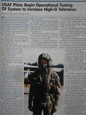 3/91 ARTICLE 1 PAGE USAF PILOT COMBAT EDGE ANTI-G SYSTEM HELMET OXYGEN MASK
