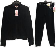 Juicy Couture Velour Black Tracksuit Set 2-Piece Jacket & Pants Brand New