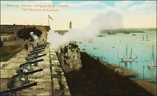 Caribbean: Old Military Cannons Being Fired: Havana, Cuba. Pre-1915.