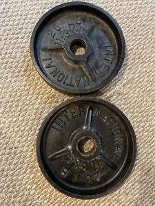 (2) 25 Lb Vintage International Canada Deep Dish Olympic Weight Plates Pair Rare