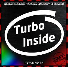 Turbo Inside Car / Van Decal Bumper Sticker Boost DUB Euro JDM - 17 Colours